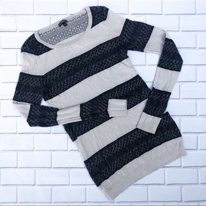 Express Striped Open Knit Long Sleeve Sweater